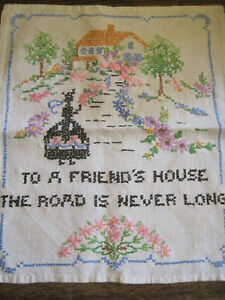 VTG Cross Stitch Sampler-To a Friend's House THE ROAD IS NEVER LONG-Completed