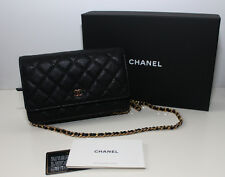 NEW CHANEL CC Quilted Wallet on a Chain Caviar WOC Black 100 % Authentic