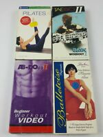 Lot of (4) VHS Fitness Tapes TaeBo, Pilates, Balletcise, and Ab-Doer II Workout