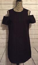 Topshop Cold Shoulder Black Bodycon Dress Size 10