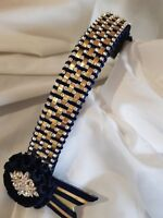 Browband weave on wide 1.25 navy & gold  patent    by Starlight Browbands