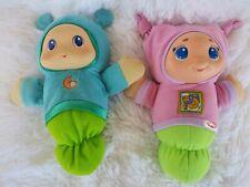 2 Vintage Hasbro Playskool Glow Worms Boy & Girl Lullaby Night -Light Glow Worm