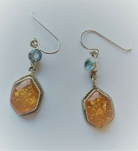Beautiful amber and topaz sterling silver drop earrings