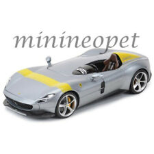 BBURAGO 18-16013 FERRARI MONZA SP1  1/18 DIECAST CAR with YELLOW STRIPES SILVER