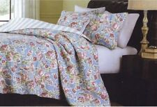 MORGAN BLUE Full Queen QUILT SET : PINK FLOWERS FRENCH COUNTRY COTTAGE CHIC