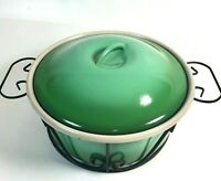 Globe Ware Enamelware Chafing Dish Casserole Green Covered Pot Metal Carrier