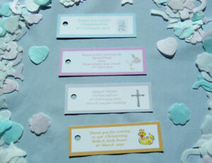 20 personalised christening baptism baby shower Holy Communion favor tags