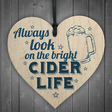 Bright Cider Life Novelty Alcohol Man Cave Pub Dad Gift Wood Heart Home Bar Sign