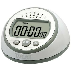 Taylor Super Loud 95DB Digital Kitchen Cooking Timer Countertop White Silver