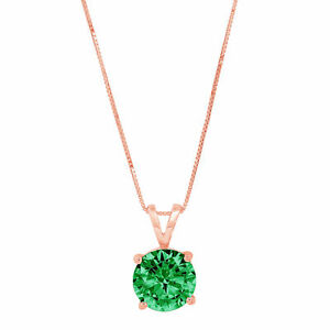 """.5 ct Round Cut Solitaire Emerald CZ 18k Rose Gold Pendant with 18"""" Box chain"""