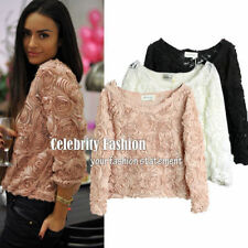 Regular Size Mesh Solid Tops and Blouses for Women