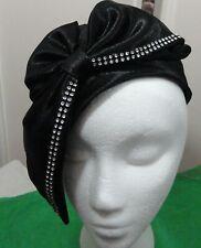 Mr. Hi's Hat - Vintage Black Satin & Rhinestone Dress Fashion Hat