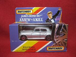Matchbox James Bond 1985 Rolls Royce Silver Cloud II View to a Kill Rare MIB 007