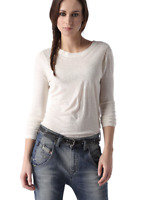 Diesel Women's T-INIGO-B Long Sleeve T-Shirt Silk Crewneck Off White $98 NWT