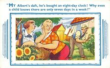 POSTCARD  COMIC   ALBERT  EIGHT  DAY  CLOCK