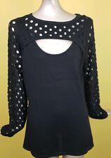 Venus Women Size L Black Knitted Sweater long sleeve