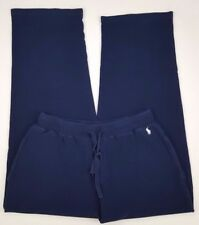 Polo Ralph Lauren Pajama Pants Lounge Navy Blue Large Cotton Waffle Pony Logo Sz