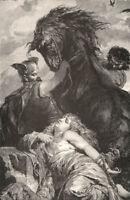 German Mythology, WARRIOR PRINCESS VALKYRE BRUNHILD ~ 1882 Art Print Engraving
