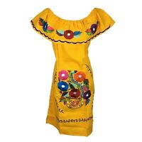 Knee Length Peasant Kimono Tunic Boho Embroidered Mexican Dress 100% Cotton M