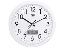 Trevi 30 cm OM3309 Round Wall Clock with LCD Digital Calendar Display and Quartz