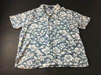 Polo Ralph Lauren Mens Blue Floral Short Sleeve Button Front Shirt Size XL