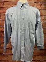 LL Bean Multi Plaid Wrinkle Resistant Button Down Shirt LS Mens Size L 16.5-32