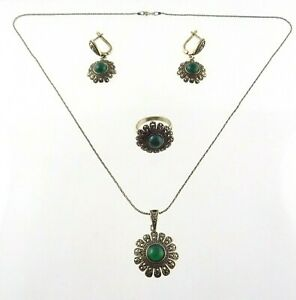 Sterling Silver Green Onyx and Marcasite Parure Set Necklace Earrings Ring 925
