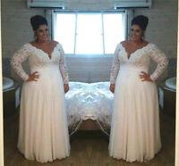 Long Sleeve White/Ivory Lace Wedding Dress Bridal Gown Plus Size 18 20 22 24 26+
