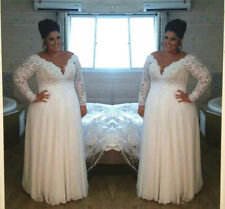 Long Sleeve White/Ivory Lace Wedding Dress Bridal Gown Plus Size 18 20 22 24 26+