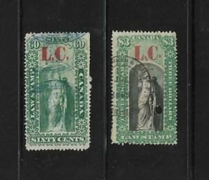 Canada Revenues: Quebec; Law Stamps; 1864 (L.C.) Issue; 2 Diff.;  Used