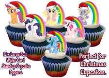 Mi Pequeño Pony Rainbow Comestible Navidad Santa Sombrero Stand Up Magdalena Cake Toppers