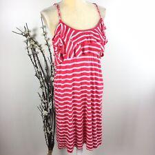 Ella Moss Anthropologie Women Size L Pink White Striped Tank Top Dress Lined 6A