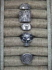 Mens Biker Ring Lot Of 5- Skull , NRA, Silver tone
