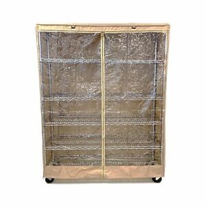 """COVER for Wire Shelving Storage Rack Unit   Size: 60""""Wx24""""Dx72""""H, (Clear/Khaki)"""