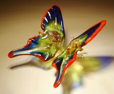 """Blown Glass Figurine """"Murano"""" Art Red, Blue and Green BUTTERFLY"""