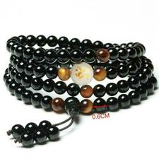 Natural stone tiger-eye mala men bracelet Buddhist 108 prayer 6mm obsidian A3E2
