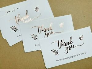 Thank You Card Thank You For Supporting My Small Business Rose Gold Card 20PCS