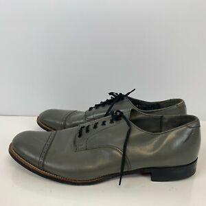 Stacy Adams Leather Oxford Dress Shoes Charcoal Grey Mens Size 14