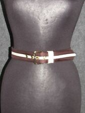 MARC JACOBS Brown Ivory Fabric Gold-tone Buckle Ladies Belt SZ 3