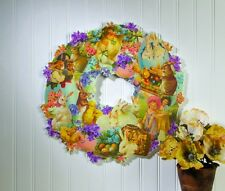 """New 16"""" Wooden Die-Cut Spring Easter Wreath With Vintage Images Bunnies Chicks"""