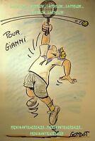 CARICATURE DESSIN ORIGINAL HUMOUR GONDOT dédicace JOUEUR TENNIS feutre & crayons