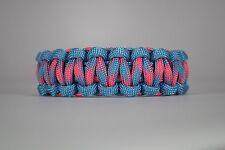 550 Paracord Survival Bracelet Cobra Carolina Blue/Cotton Candy Camping Tactical
