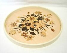 Japan Vintage Round Tray Plastic Tulip Flower Floral Table Serving