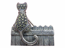 Judith Jack Sterling Silver Brooch Pin Cat on a Fence Kitten Marcasite 719g