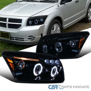 For 07-12 Dodge Caliber LED Halo Glossy Black Projector Headlights Smoke Lamps