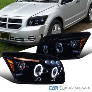 For 07-12 Dodge Caliber LED Halo Glossy Black Projector Headlights Smoke Lamps