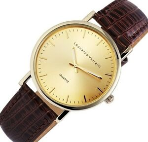 Herrenuhr Armbanduhr Gold/Braun Krokoimitat Kunstlederarmband Leonardo Verrelli