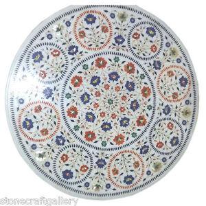 "36"" Marble Coffee Table Top Handmade Semi Precious Inlay Art Home Decor"