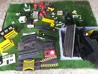 Vintage Scalextric Job Lot Very Old  Buildings, Track and accesories loads
