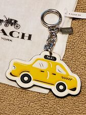 NYC Coach Leather Yellow Taxi Cab Key Chain Keyring Charm NEW YORK bag purse FOB